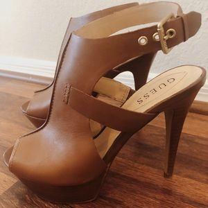 Guess Leather Open Toe Heels 8